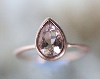 Morganite 14K Rose Gold Engagement Ring, Stacking Ring, Gemstone Ring, Eco Friendly, Pear Shape Gold Ring - Made To Order