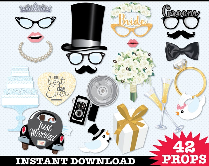 Wedding Photo Booth Props, Wedding Props, Engagement Party, Bridal Shower, Wedding Shower - Instant Download PDF - 42 DIY Printable Props