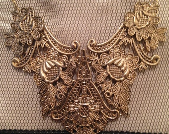 Gold Toned Bib Style Chandelier Necklace