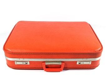 Vintage Orange Hard Shell Suitcase