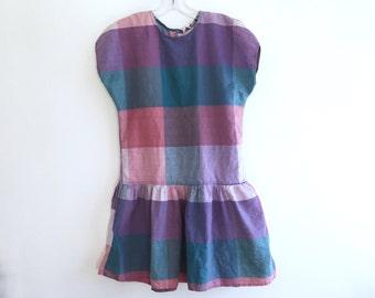 Plaid Romper Dress / Plaid Drop Waist Playsuit / Button Up Back Culottes Jumper Scooter Mini Dress / Romper Shorts Onesie Size M