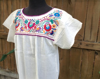 1st Style of a Gorgeous Floral Art Embroidered Beige Gauze Blouse