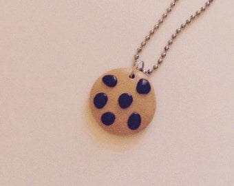 Chocolate Chip Cookie Necklace made from Polymer Clay, Holiday Gift Jewelry, Fake Food Jewelry