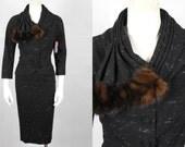 1950 Vintage Lilli Ann Black and White Speckle Suit with Mink Fur Accent