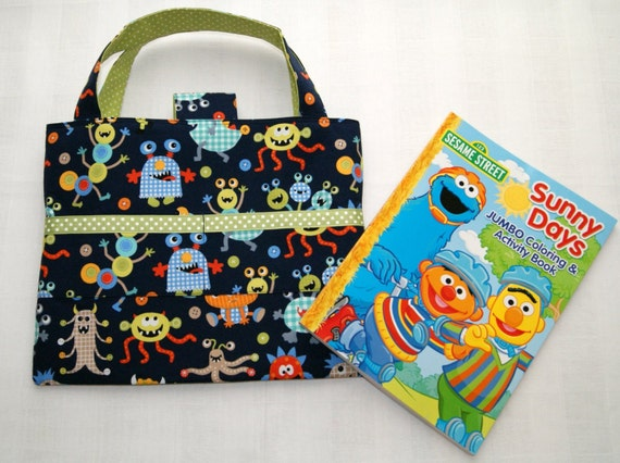 Monsters child travel activity tote crayon holder for Arts and crafts tote bags