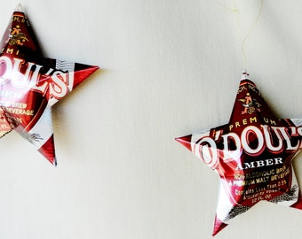 O'Douls Amber Red N.A. Non-Alcoholic  Beer Stars Christmas Ornaments Aluminum Can Upcycled