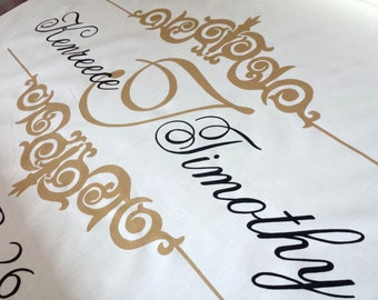 Ivory Aisle Runner Wedding Monogram White Isle Runner Ceremony Runner Real Fabric Decor Initial Custom Wedding Decoration