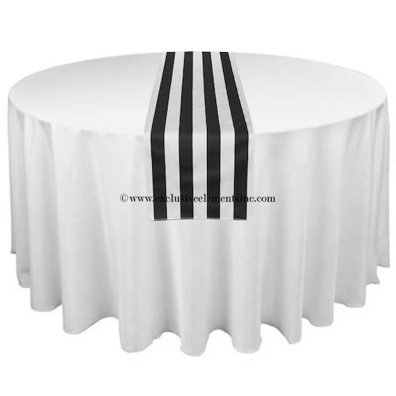 Black And White Stripe Table Runner Wedding By