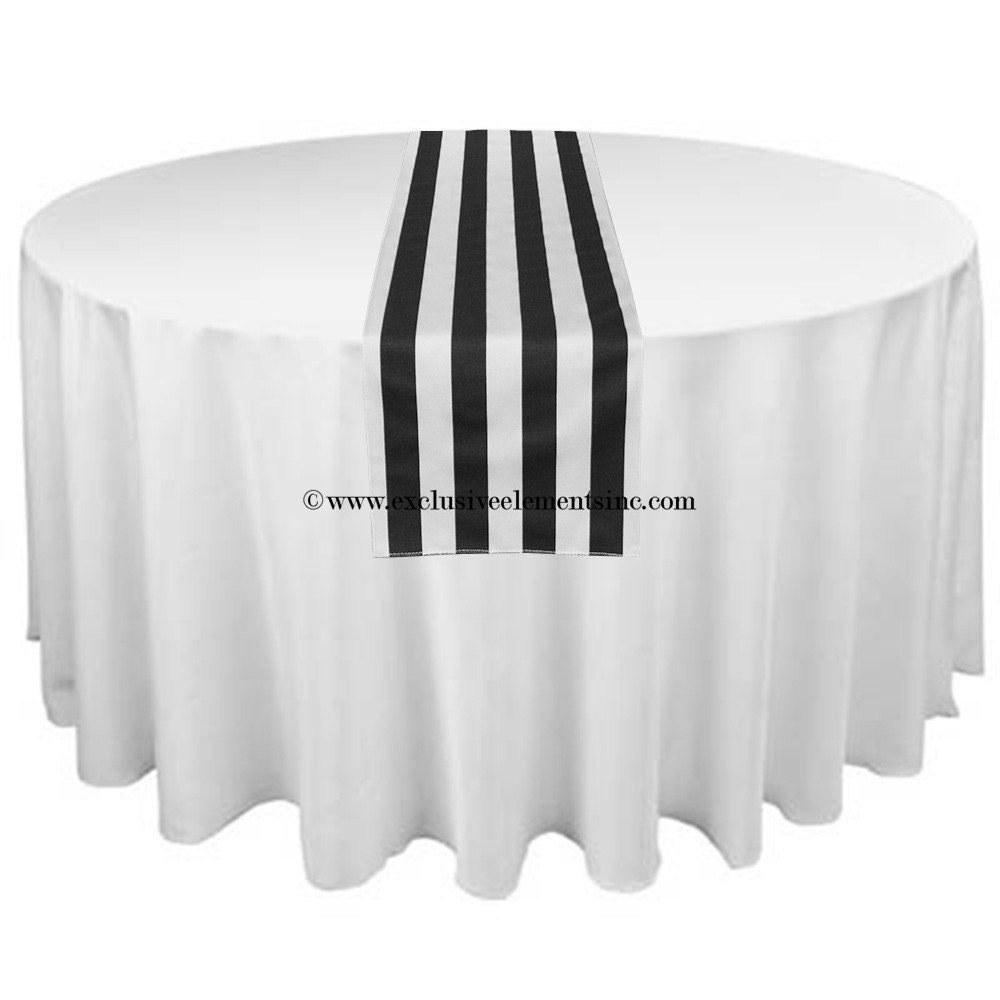 Black And White Stripe Table Runner Wedding Table Centerpiece