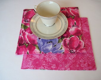 Pink Tulip Snack Mats  Pink Large Coasters//Mug Rugs Pink and Purple Candle Mat pink Oversized Coasters Pink Tulip Mug Mat set of 2