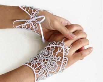 Silver Fingerless Gloves, Lace Evening Formal Gloves, Bridal Fingerless Gloves, Hand Charms, Shiny Modern Wedding Handmade
