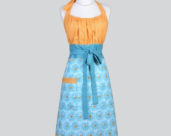 Cute Kitsch Retro Apron / Full Vintage Kitchen Womens Apron in Turquoise and Aqua Blue with Orange Bodice Handmade Womans Chef Cooking Apron
