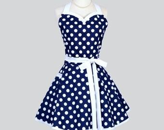 Sweetheart Retro Womans Apron - Cute Flirty Apron in Vintage Navy Blue White Nautical Polka Dot Full Kitchen Cooking Hostess Womens Aprons