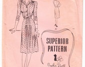 Vintage 1940s Superior 9729 Sewing Pattern Misses' One-Piece Dress Size 18 Bust 36