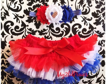 Patriotic Baby Girl HEADBAND and TUTU - Red , white and Blue tutu, Baby Girl tutu, Forth of July, Patriotic Headband, Baby girl set