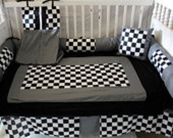Gray black checker Crib bedding-Free personalized pillow