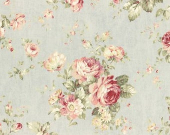Durham Quilt 2016 Cotton Fabric by Lecien 31336-71 Pink Roses on a Grayed-Blue Background