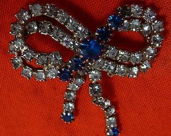 Blue Rhinestone Bow Dangling Brooch Pin