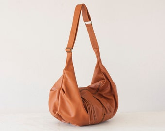 Brown leather cross body bag, hobo bag shoulder purse caryall bag crossover long strap- Crossbody Kallia bag