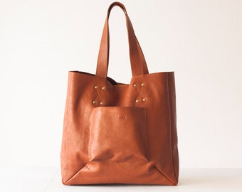 Shopper tote bag in brown leather,shoulder bag,women purse,large bag,raw edge leather tote - The Aella tote