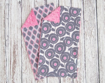 Gray and Pink Baby Burp Cloths, Baby Girl Burp Cloth, Pink Minky Burp Cloths