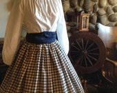 Civil War Pioneer Colonial Navy Plaid Skirt Blouse and Sash