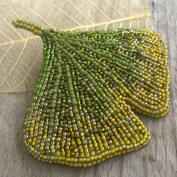 Bead embroidery gingko leaf brooch by beadedmischka on etsy