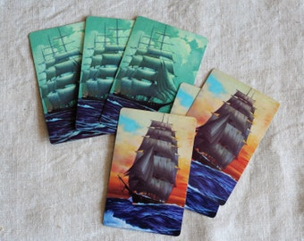 Tall ships, sailing ships, six playing cards, three of each, art supply cards