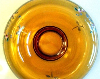 VALENTINES SALE Vintage Bohemian Art Glass Console Bowl, 1930s, Amber Glass,Enameled and Painted Flowers,Rolled Edge, Gold Moriage, Frosted