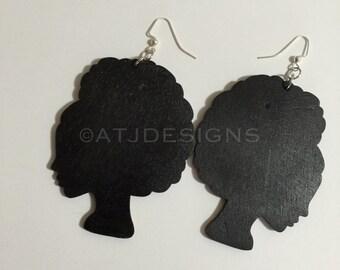 Wood Earrings: Afro Woman Silhouette