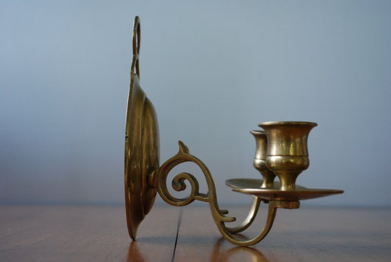 vintage pair of solid brass wall sconces double candle