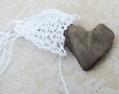 Bohemian Beach Wedding Necklace, Treasure Pouch Necklace, White, Beachcomber