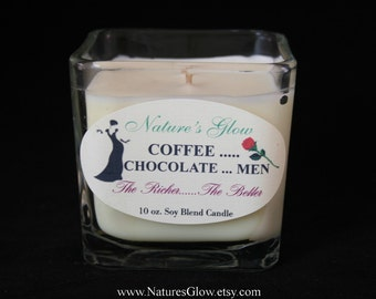 Coffee Candle - Scented Candle - Coffee Decor - Coffee Chocolate Men - The Richer the Better - Candle Message - Candle Quote - Candle Saying