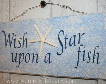 Starfish Decor, Starfish Sign, Wish Upon a Starfish, Tropical Decor, Tropical Sign, Wooden Sign,  Beach Decor, Coastal Decor, Nautical Decor
