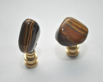 Lamp Finial Pair - Polished Tiger Eye