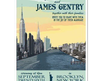 Vintage New York City Invitation and Reply Postcard (set of 20)