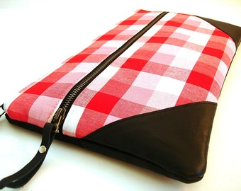 Large Oversized Leather Zipper Clutch Poppy Red Gingham and Black Leather