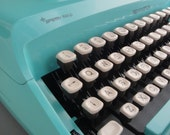 Reserved Vintage Remington Ten Forty Turquoise Typewriter 1960s with Case Sperry Rand