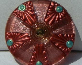 Beach Umbrella Czech Glass Button