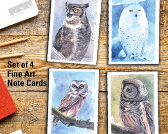 Wisconsin Owls Note Card Set of 4