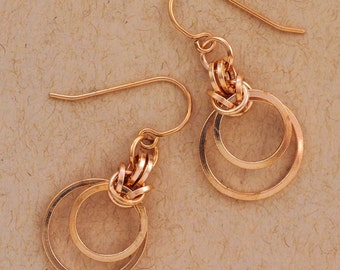 Bronze Chainmaille Earrings Kit - Intermediate Staggered Byzantine Weave - Unique Style