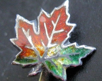 BIGGEST SALE of the Year Canadian Maple Leaf Enamel Sterling Silver Stick Pin Cravat Hat Vintage Jewelry Jewellery
