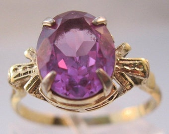 10% OFF SALE Vintage 3ct Alexandrite Sterling Vermeil Ring Solitaire Size 8.5 Jewelry Jewellery