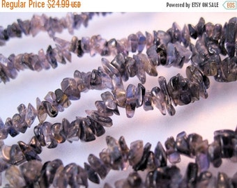 "HALLOWEEN SALE Iolite Uncut Nugget Bead Necklace 36"" Vintage Jewelry Jewellery"