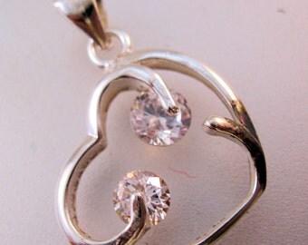 Sterling Silver Crystal Heart Drop Pendant Vintage Jewelry Jewellery