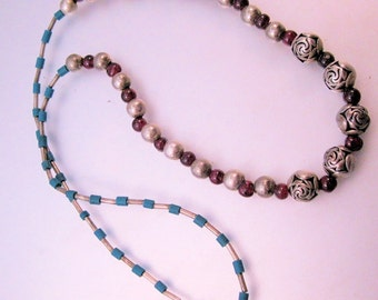 "Vintage Genuine Garnet Sterling Beaded Necklace 20"" Jewelry Jewellery"