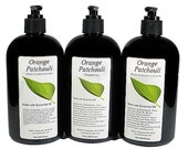 ORANGE PATCHOULI Lotion, Shampoo, Conditioner, Essential Oil, VEGAN, Paraben Free, Homemade, Natural, 8oz, 16oz, Black Pump