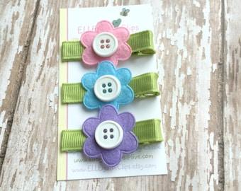Felt Flower Hair clips - Girls Hair clips / Button Hair clip / Barrette