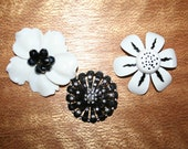 Three Vintage Black and White Flower Brooches