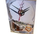 FREE SHIPPING! Desk Clock from a Rare All Aluminum Computer Hard Drive, has Circuit Board Stand.